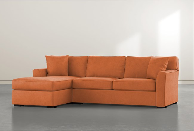Aspen Down Orange 2 Piece Sectional With Left Facing Chaise - 360