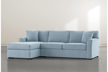 Aspen Down Light Blue 2 Piece Sectional With Left Facing Chaise