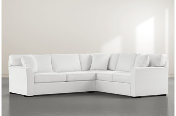 Aspen Down White 2 Piece Sectional With Left Arm Facing Condo Sofa