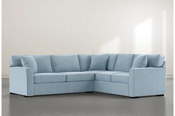 Aspen Down Light Blue 2 Piece Sectional With Left Arm Facing Condo Sofa