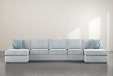 """Aspen Tranquil Foam 4 Piece 156"""" Sectional With Double Chaise"""