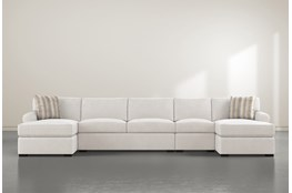 "Elm II Foam 4 Piece 160"" Sectional With Double Chaise"
