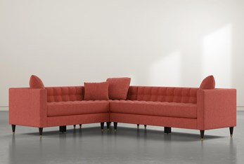 """Tate III 92"""" Red 3 Piece Sectional With Right Arm Facing Sofa"""