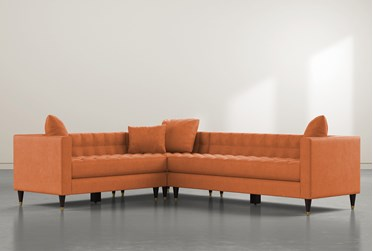 """Tate III 92"""" Orange 3 Piece Sectional With Right Arm Facing Sofa"""