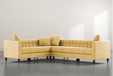 """Tate III 92"""" Yellow 3 Piece Sectional With Right Arm Facing Sofa"""