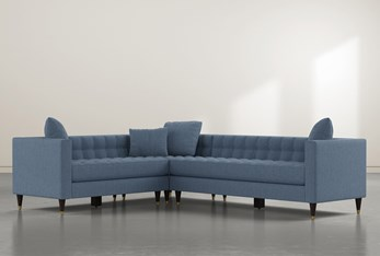 """Tate III 92"""" Dark Blue 3 Piece Sectional With Right Arm Facing Sofa"""