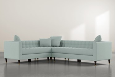 """Tate III 92"""" Light Blue 3 Piece Sectional With Right Arm Facing Sofa"""