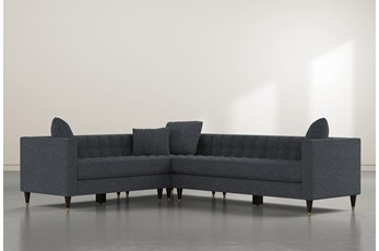 "Tate III 92"" Black 3 Piece Sectional With Right Arm Facing Sofa"
