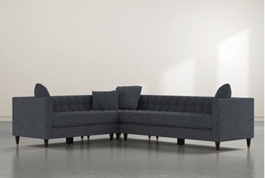 """Tate III 92"""" Black 3 Piece Sectional With Right Arm Facing Sofa"""