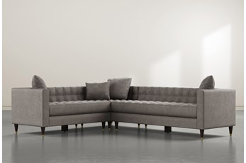 "Tate III 92"" Dark Grey 3 Piece Sectional With Right Arm Facing Sofa"