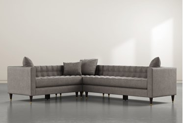 """Tate III 92"""" Dark Grey 3 Piece Sectional With Right Arm Facing Sofa"""
