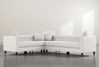 """Tate III 92"""" Light Grey 3 Piece Sectional With Right Arm Facing Sofa"""