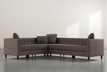 """Tate III 92"""" Brown 3 Piece Sectional With Right Arm Facing Sofa"""
