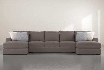 """Delano Charcoal 3 Piece 169"""" Sectional With Double Chaise"""
