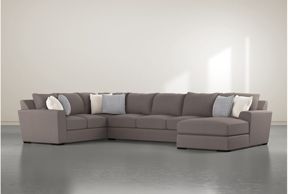 """Delano Charcoal 3 Piece 169"""" Sectional With Right Arm Facing Chaise"""