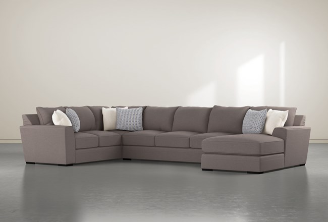 """Delano Charcoal 3 Piece 169"""" Sectional With Right Arm Facing Chaise - 360"""