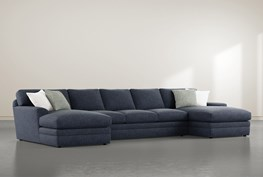 """Prestige Foam 3 Piece 156"""" Sectional With Double Chaise"""