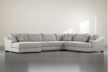 """Lodge Fog 4 Piece 178"""" Sectional With Left Arm Facing Chaise"""