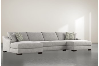 "Lodge Fog 3 Piece 182"" Sectional With Double Chaise"