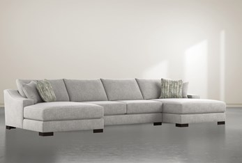 """Lodge Fog 3 Piece 182"""" Sectional With Double Chaise"""