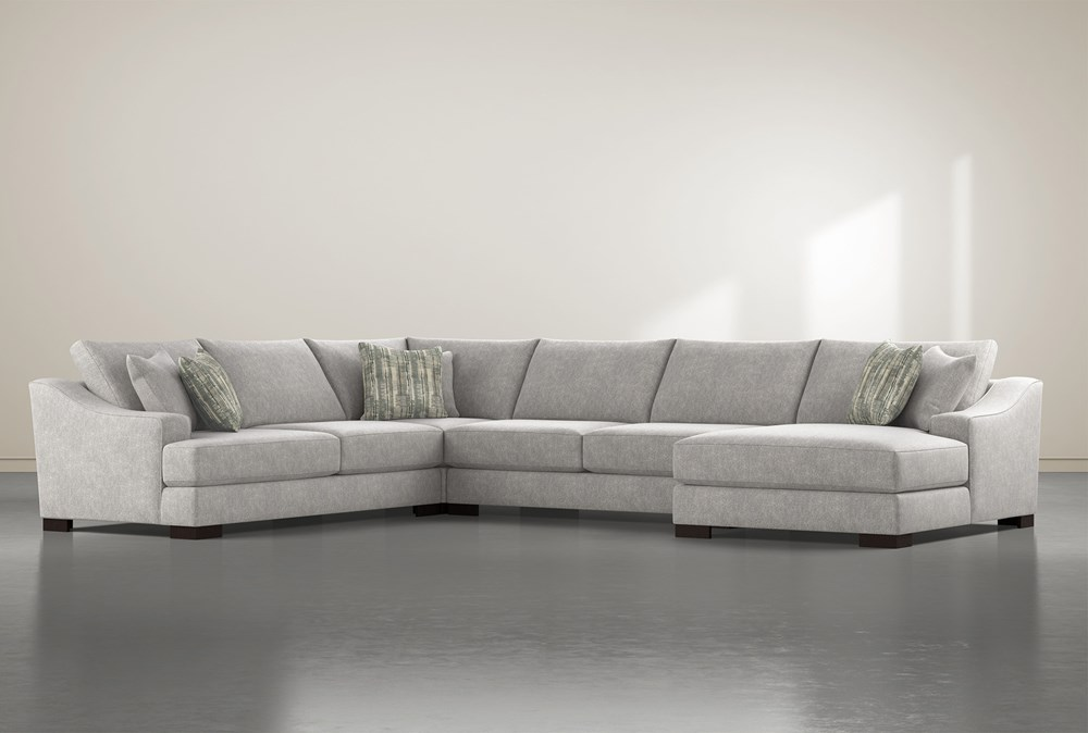 Lodge Fog 4 Piece Sectional With Right Arm Facing Chaise