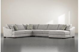 "Lodge Fog 4 Piece 178"" Sectional With Right Arm Facing Chaise"
