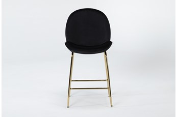 "Selena Black Velvet 24"" Counter Stool"