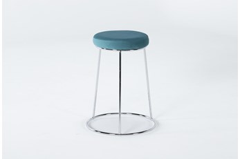 "Vivian Teal Velvet 24"" Round Counter Stool"