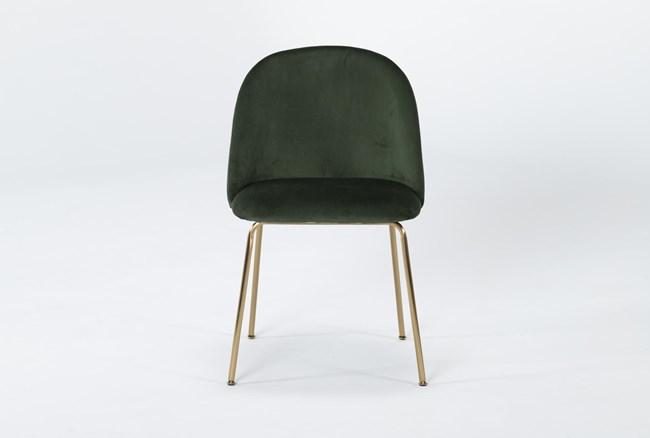 Ava Emerald Green Velvet Dining Side Chair - 360