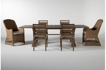 Sebastian Outdoor 7 Piece Dining Set With Side And Woven Chairs