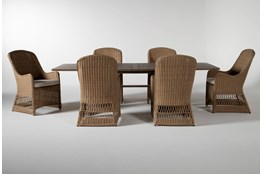 Sebastian Outdoor 7 Piece Dining Set With Woven Chairs