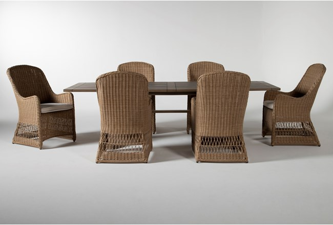 Sebastian Outdoor 7 Piece Dining Set With Woven Chairs - 360