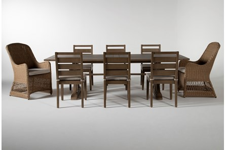 Sebastian Outdoor 9 Piece Dining Set With Side And Woven Chairs