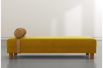 Vaughn Yellow Velvet Settee By Nate Berkus And Jeremiah Brent