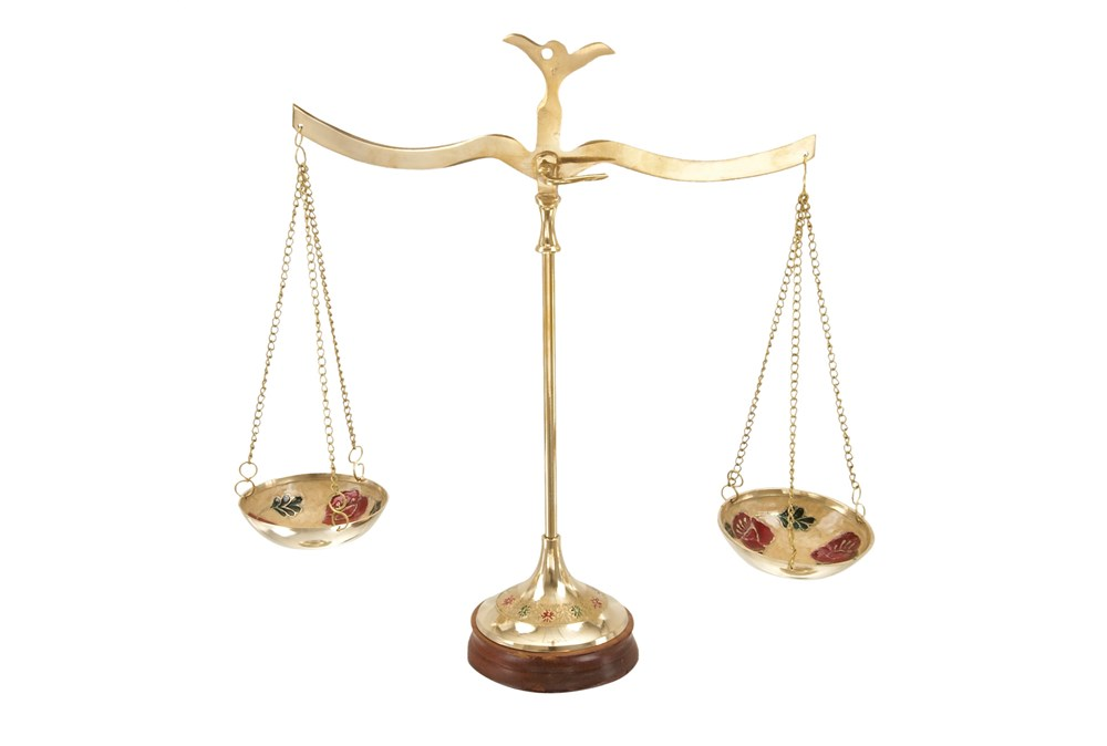 Brass Scale With Red Flowers Sculpture