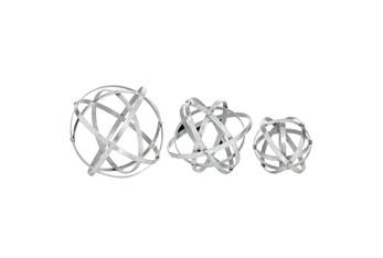 Set Of 3 Silver Metal Orbs