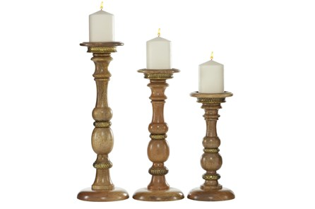 Set Of 3 Turned Wood Candlesticks