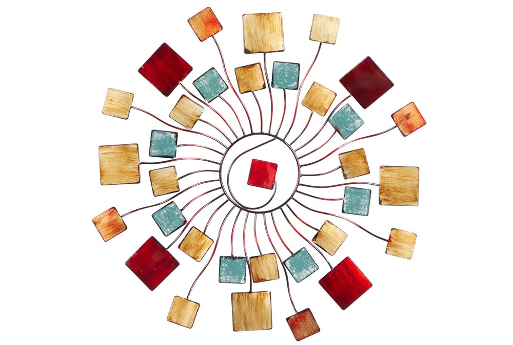 Wall Decor Circular Radial With Resin Square Accent