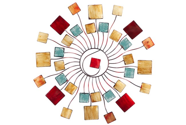 Wall Decor Circular Radial With Resin Square Accent  - 360