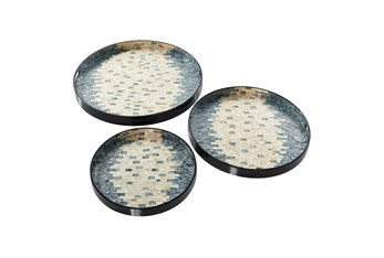 Set Of 3 Round Pearl And Blue Capiz Shell Trays
