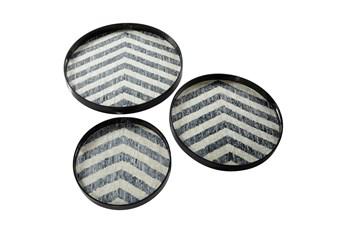 Set Of 3 Round Chevron Print Pearl And Gray Capiz Shell Trays