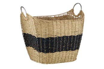 Large Seagrass Basket With Black Stripe