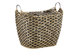 Large Black And Seagrass Diamond Basket