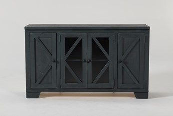 Sinclair Blue Lagoon 54 Inch TV Stand With Glass Doors