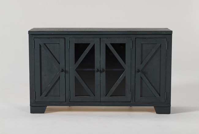 Sinclair Blue Lagoon 54 Inch TV Stand With Glass Doors - 360