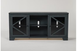 Sinclair Blue Lagoon 68 Inch TV Stand With Glass Doors