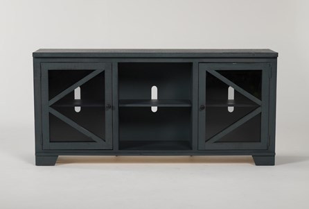 Sinclair Blue Lagoon 68 Inch TV Stand With Glass Doors - Main