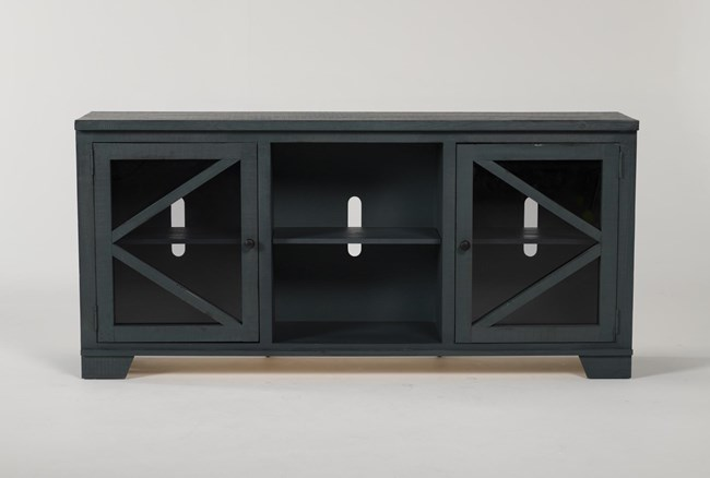 Sinclair Blue Lagoon 68 Inch TV Stand With Glass Doors - 360