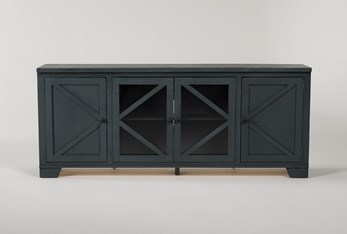 Sinclair Blue Lagoon 78 Inch TV Stand With Glass Doors