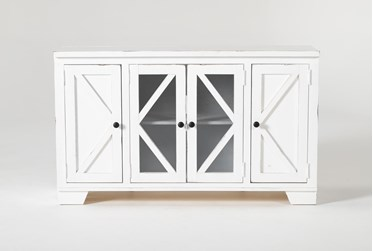 Sinclair II White 54 Inch TV Stand With Glass Doors